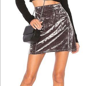Revolve Velvet Mini Skirt